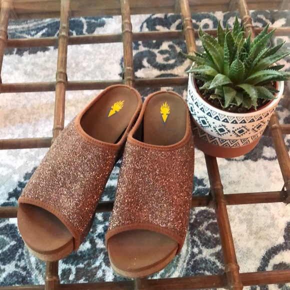 Glittery wedge sandals